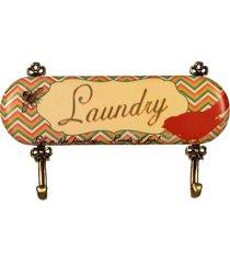cabideiro de metal e cerâmica decorativo laundry