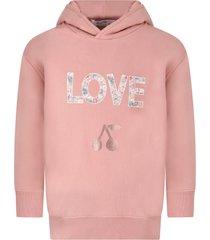 bonpoint pink sweatshirt for girl with cherries