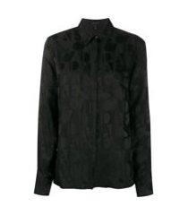 escada camisa mangas longas com estampa de logo - preto