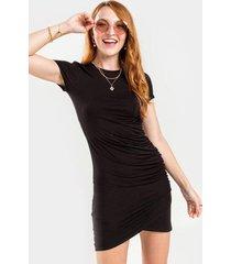 blair ruched mini dress - black