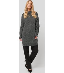 na-kd glittery knitted long sweater - black,silver