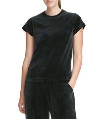 dkny women's boxy short-sleeve tee - black - size m