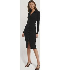 gine margrethe x na-kd rib jersey dress - black