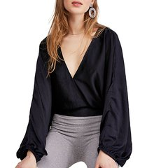 midnight vibes puff-sleeve v-neck blouse