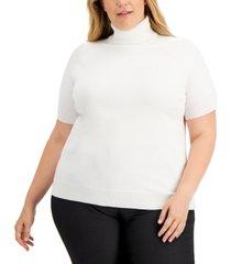 karen scott plus size elbow-sleeve turtleneck sweater, created for macy's