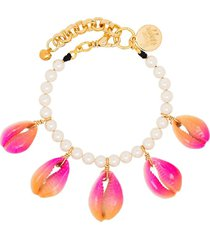 venessa arizaga summer shells pearl bracelet - pink