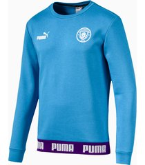 man city football culture sweater voor heren, blauw/wit, maat xl | puma