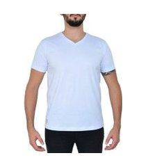 camiseta algodão gola v lisa manga curta masculina