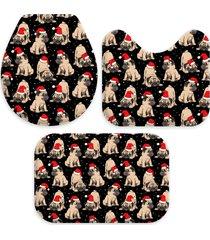 jogo tapetes para banheiro multi pug natalino único love decor
