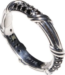signature classic pave band ring with black spinel in sterling silver