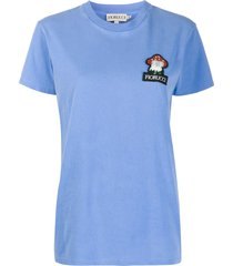 fiorucci beaded mushroom logo embroidered t-shirt - blue