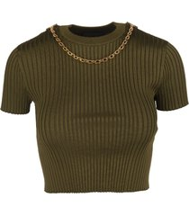 givenchy bottle green ribbed knit crop top with chain