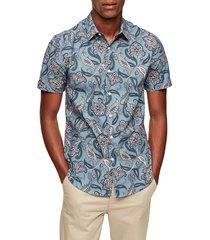 men's topman paisley short sleeve button-up shirt