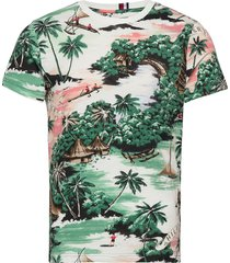 all over hawaiian print tee t-shirts short-sleeved multi/mönstrad tommy hilfiger