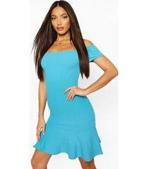 bardot mini-jurk met lange peplum zoom, blauw