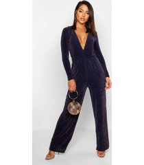 plunge wide leg sparkle jumpsuit, navy