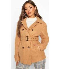 double breasted wool look coat, camel