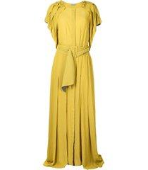 baruni frayed-edge belted-waist dress - yellow