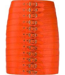 manokhi dita multi-buckle detail skirt - orange