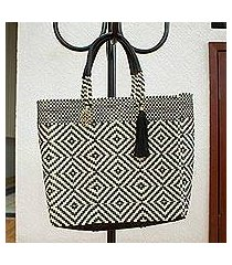leather accented plastic tote, 'jet diamonds' (mexico)