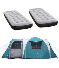barraca camping nautika arizona gt 9/10 pessoas + 2 colchões solteiro inflável fit ecologic