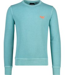 trui turquoise ronde hals superdry