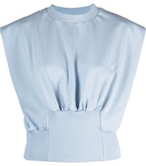 3.1 phillip lim french terry shirred top - blue