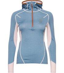 lithe tech-wool hood base layer tops blauw johaug