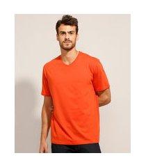 camiseta de algodão básica gola v manga curta preta laranja
