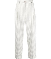 acne studios tweed pleat-detail cropped trousers - green