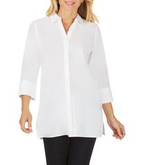 women's foxcroft pamela stretch button-up tunic, size 4 - white