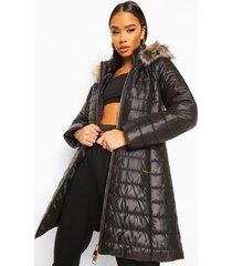 glanzende lange parka jas met faux fur zoom, black