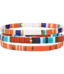 eye candy la women's luxe kate 3-piece goldtone & enamel stretch bracelet set