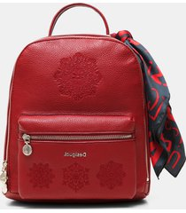 embroidered backpack with scarf - red - u