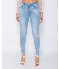 skinny jeans parisian frayed hem mid waist skinny jeans -