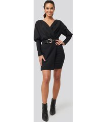 trendyol belt detail double breasted collar dress - black