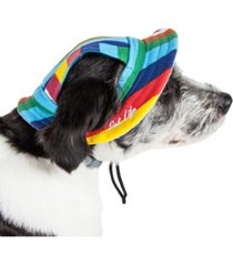pet life 'colorfur' uv protectant adjustable fashion canopy brimmed dog hat cap
