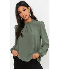 frill neck long sleeve woven blouse, khaki