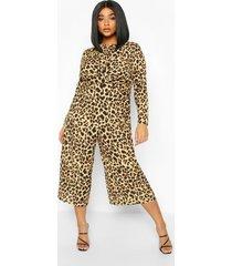 plus leopard print twist front culotte jumpsuit, brown