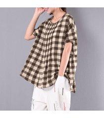 zanzea ocio scoop neck manga corta jerséis plisados sueltos mujeres verano retro algodón lino cheque blusa irregular café -marrón