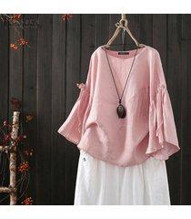 zanzea s-5xl camisa de manga campana para mujer tops blusa lisa casual camisa tops tallas grandes -rosado