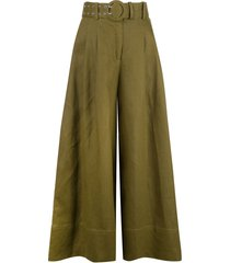 nicholas belted flared trousers - green