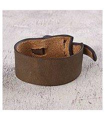 leather wristband bracelet, 'nazca dark camel' (peru)