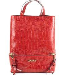 bolso femenino rojo tipo shopping cosmos