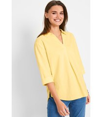 linnen oversized blouse met kraag