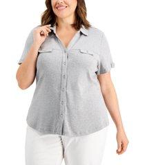 karen scott plus size cotton knit utility shirt, created for macy's