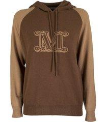 max mara liegi cashmere hooded sweater with logo