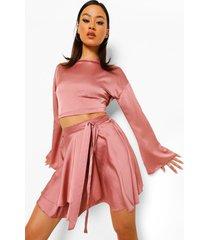 blouse met fluitmouwen en rok met ceintuur, antique rose