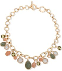 "anne klein gold-tone crystal, stone & mother-of-pearl 17"" charm necklace"
