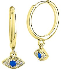 14k goldplated sterling silver & cubic zirconia evil eye huggie hoop earrings
